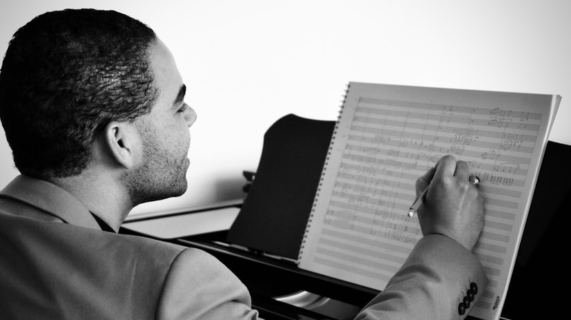 Brandon Di Noto composing at his home studio, San Diego, CA.