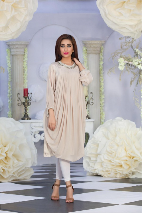 LATEST BEIGE COLOR CASUAL KURTI DESIGN