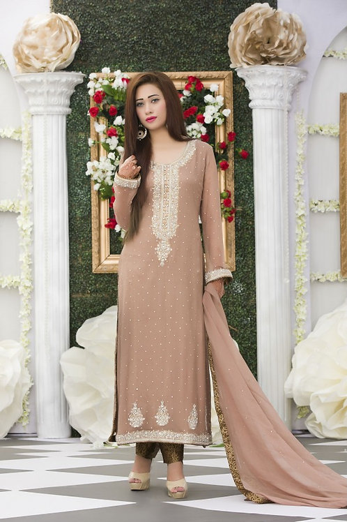 EXCLUSIVE COFFEE COLOR PARTY DRESS