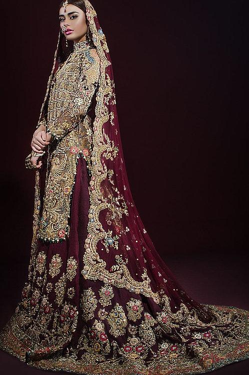 Maroon Heavy Bridal Dress