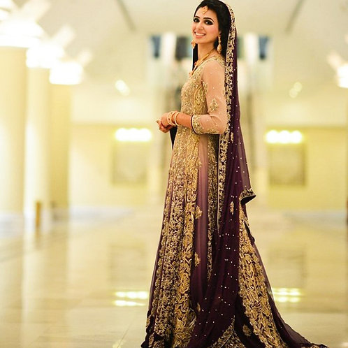 STYLISH PURPLE BRIDAL DRESS