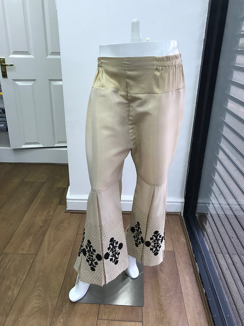 Beige Embroidered Trouser