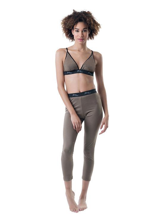 Women Taupe sport bra and legging