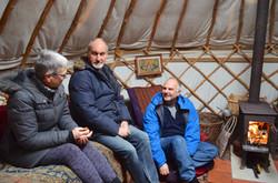 Viryajoti and friends in the yurt