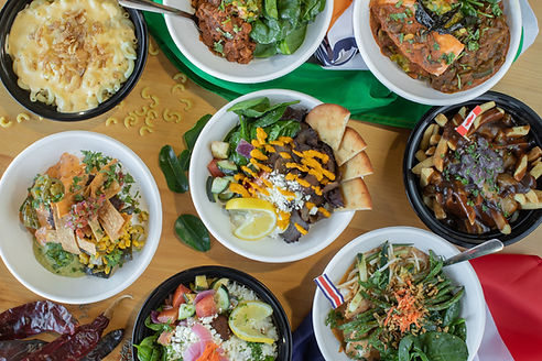 Bodhi's Bowl's array of international rice bowl dishes