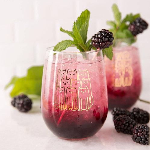Cat Stemless Wine Glass