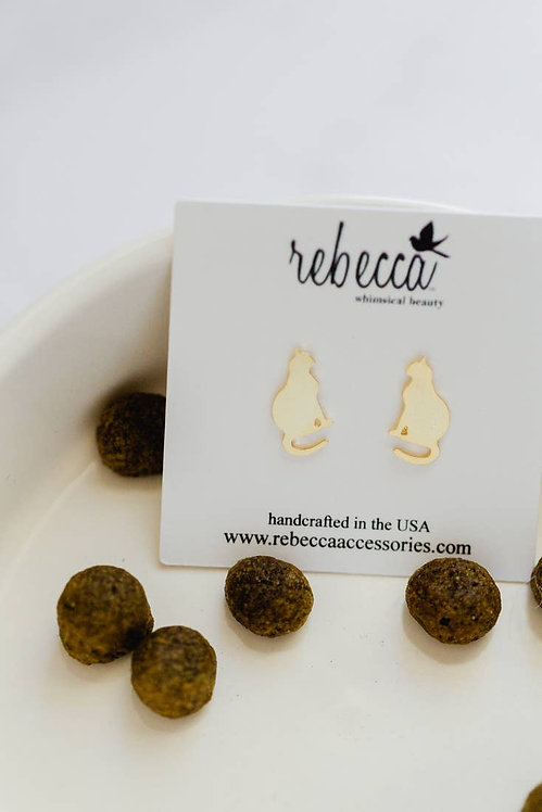 Cat Perched Post Earrings