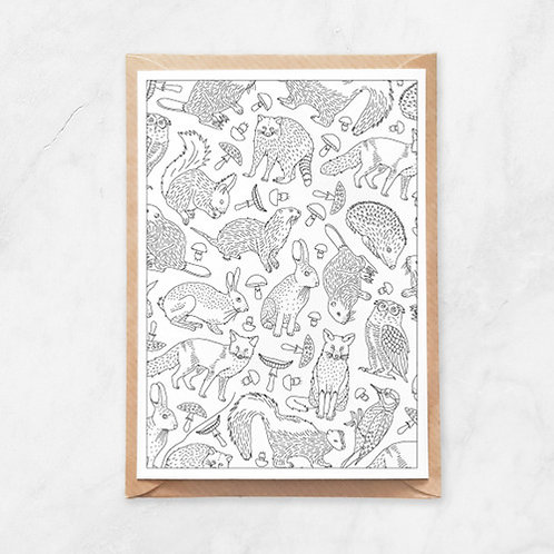 Color Your Own Card | Forest Animals