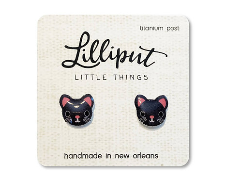 Black Kitty Cat Earrings