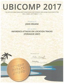 UbiComp 10-Year Impact Award 2017 - John