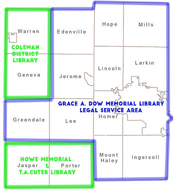 Map of the Grace A. Dow Memorial Library Legal Service Area