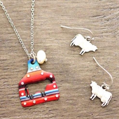 Serape Cow Necklace Set