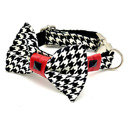 Red Leather Houndstooth Collar & Bow Tie