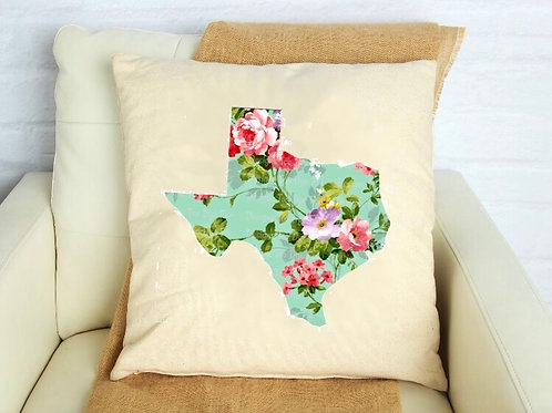 Texas Floral Pillow Cover