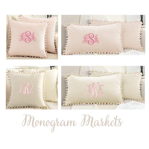 Monogrammed Pom Pom Pillows