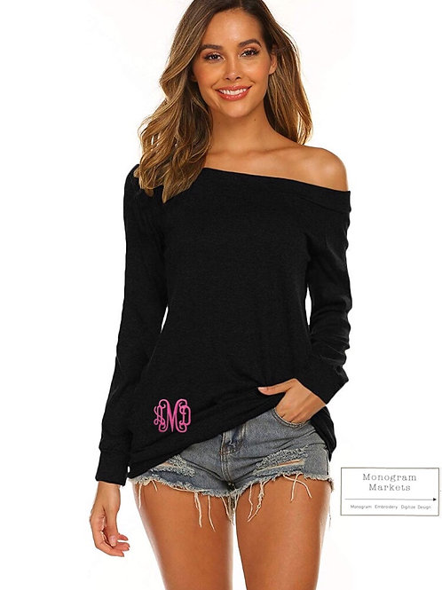 Off Shoulder Monogram Tee