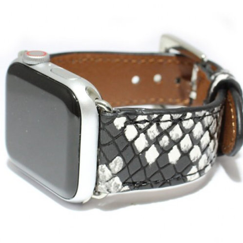 Apple watch Band with snake skin and silver