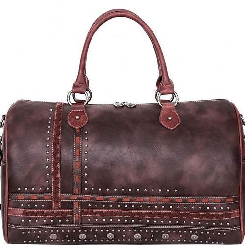 Studded Leather Duffel Bag