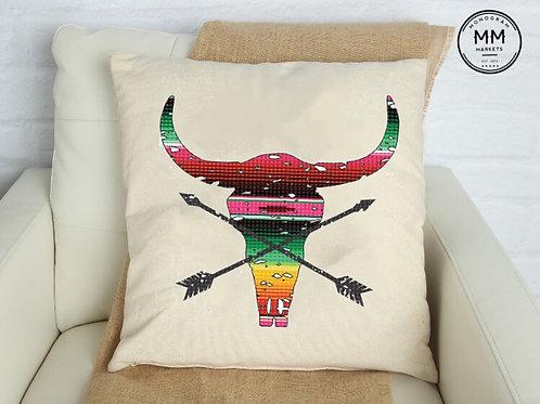 Serape Steer Pillow Cover