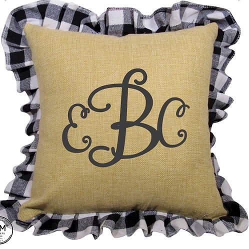 Gingham monogram pillow covers