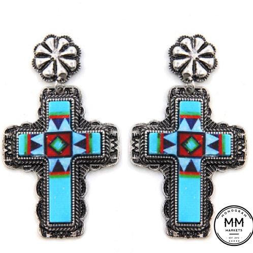 Cross Turquoise Earrings