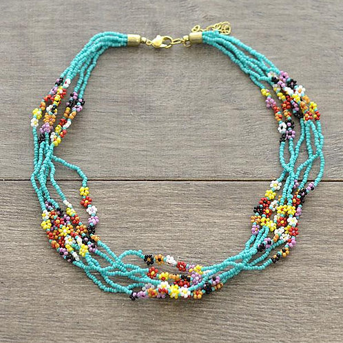 Floral Seed Bead Necklace