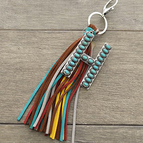 Turquoise Leather Letter Key Chain