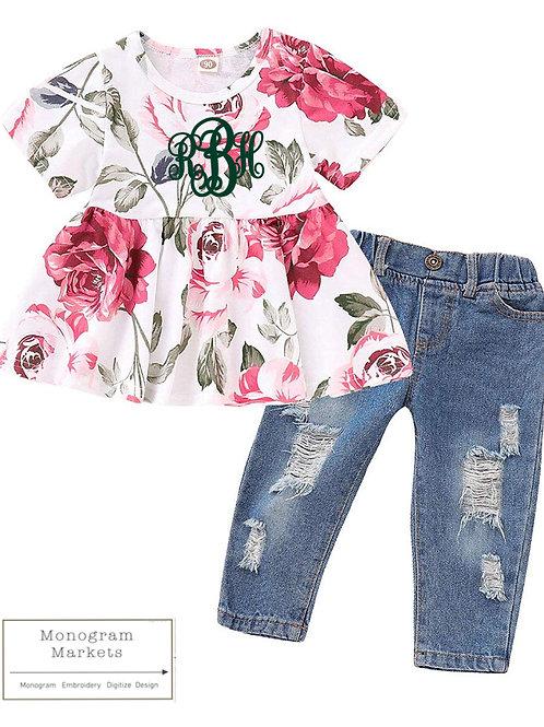 Floral top & jeans set