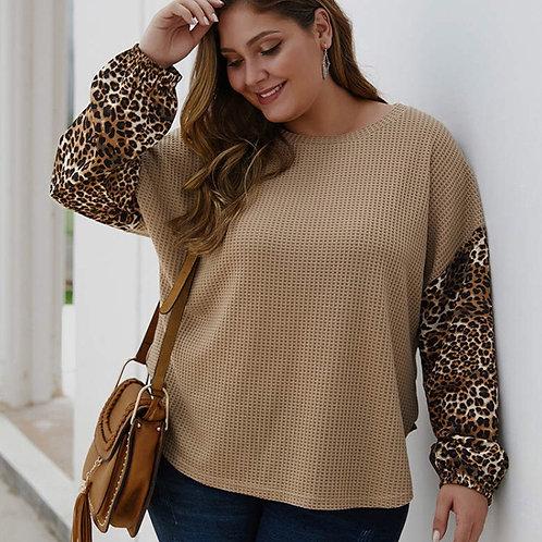 Leopard Sleeve Knit Top Plus Size