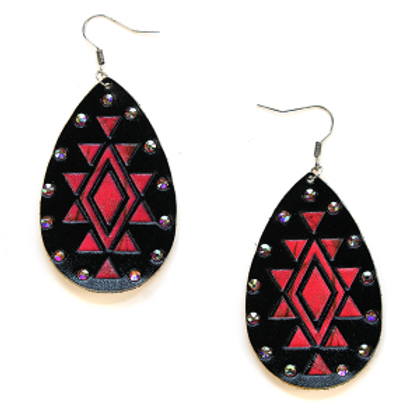 Leather Aztec Earrings