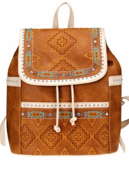 Tribal Pattern Embroidered Backpack