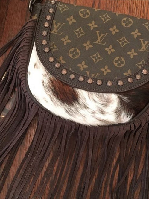 Cowhide Fringe Custom LV / Monotanna West Purse