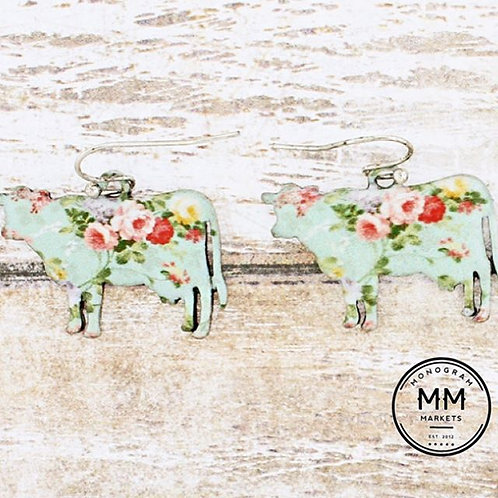 Floral Cow Earrings