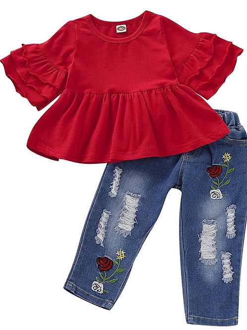 Ruffle Top with Embroidered Jeans