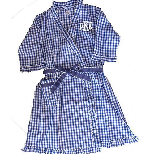 Gingham Monogrammed Ruffle Robe