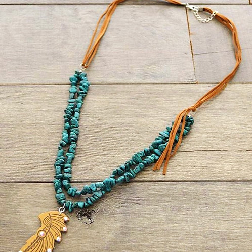 Headdress Suede Turquoise Necklace
