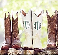 Vintage monogrammed boots for a beautifu