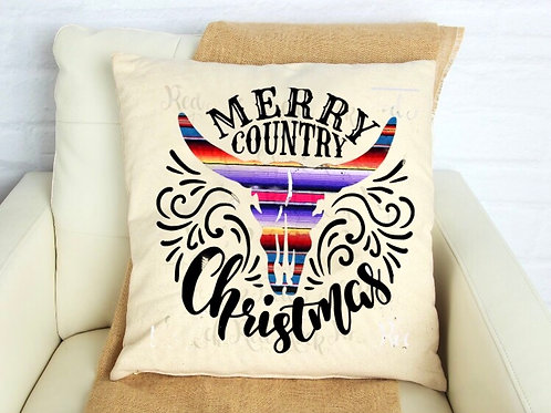 Merry Country Christmas Pillow Cover