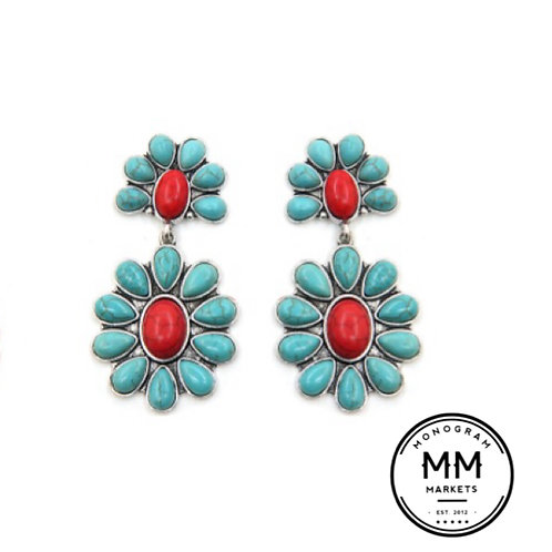 Turquoise Floral Earings