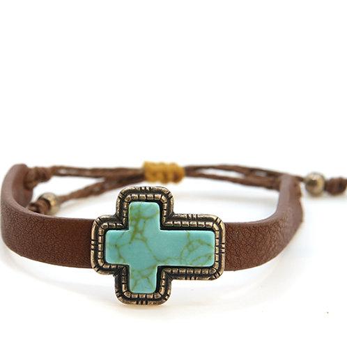 Terra leather turquoise bracelet