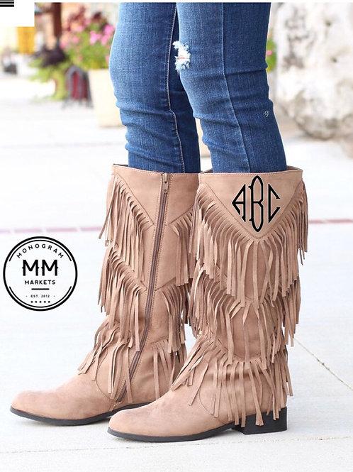 Fringe Monogrammed Boots