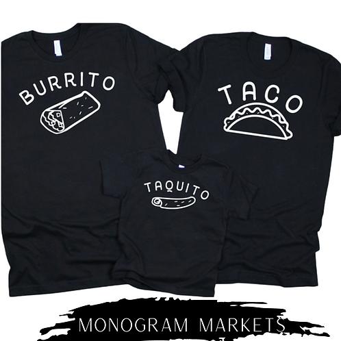 Burrito Taco Taquito Tee Set