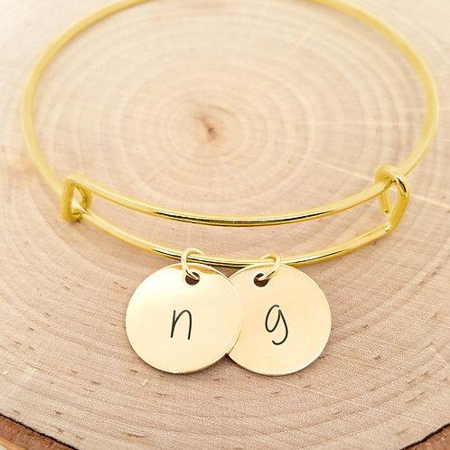 Personalized Gold Bangle - Custom Initial Bracelet