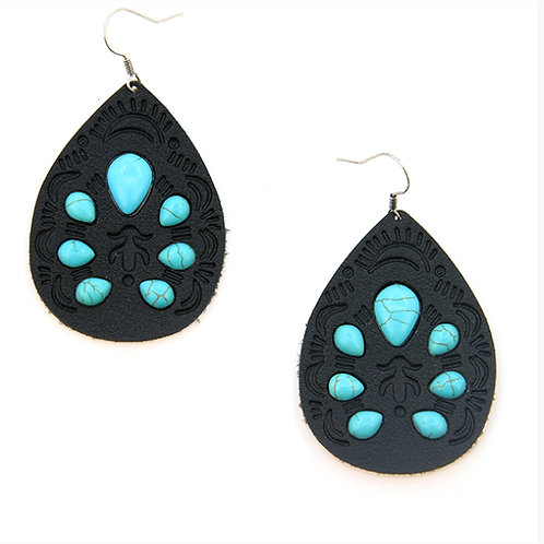 Leather Turquoise Earings