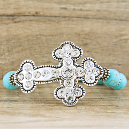 stone crystal cross turquoise