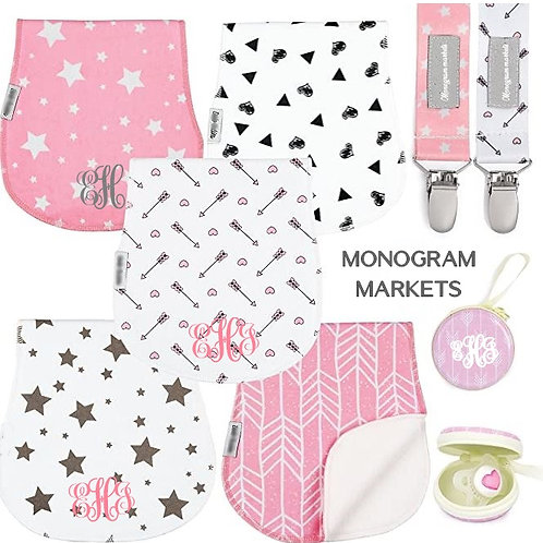 Monogrammed Burp Cloths Pacifier Baby Set - Boy or Girl