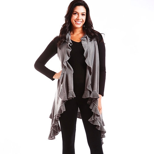 Solid Ruffle Vest & Scarf