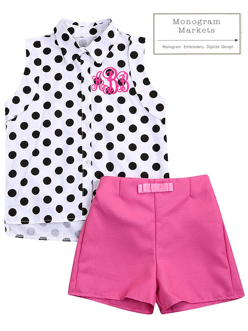 Pink polka monogrammed outfit