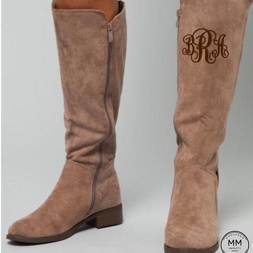 Monogram Suede Boots