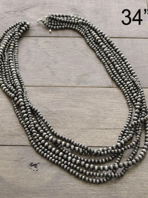 Navajo bead stacked necklace